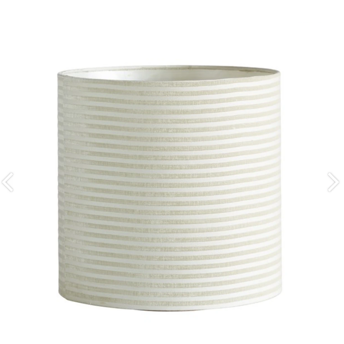 cylindrical lampshade in ecru white with cream stripes by designer tine k