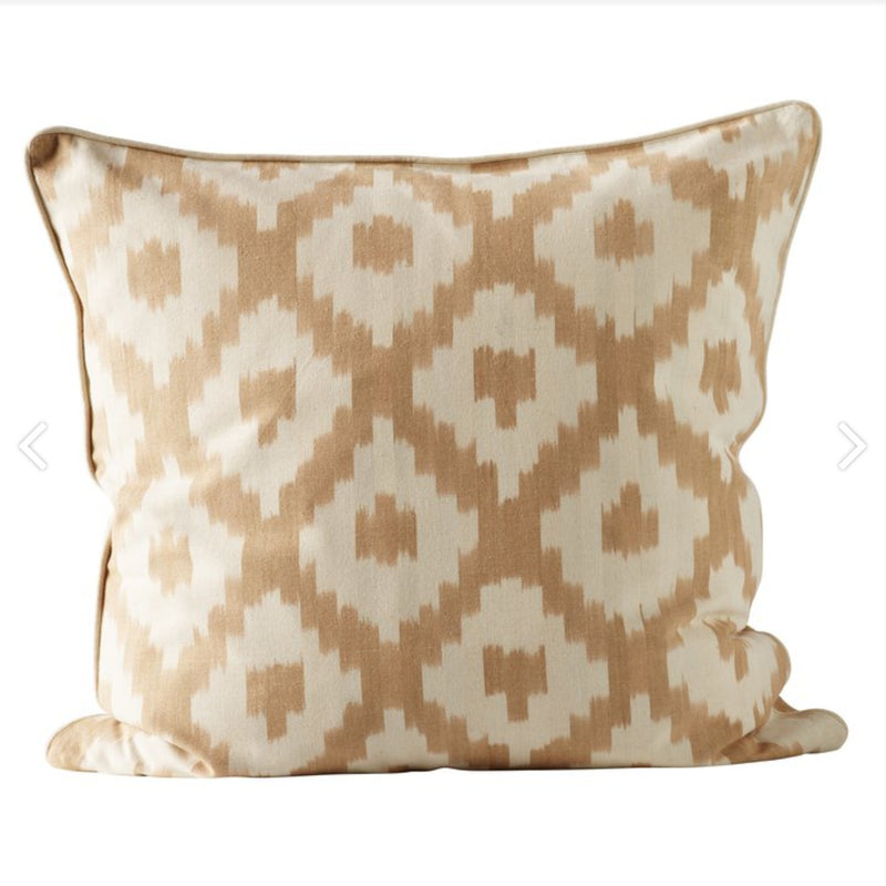 diamond patterned square pillow in honey and cream color by designer tine k