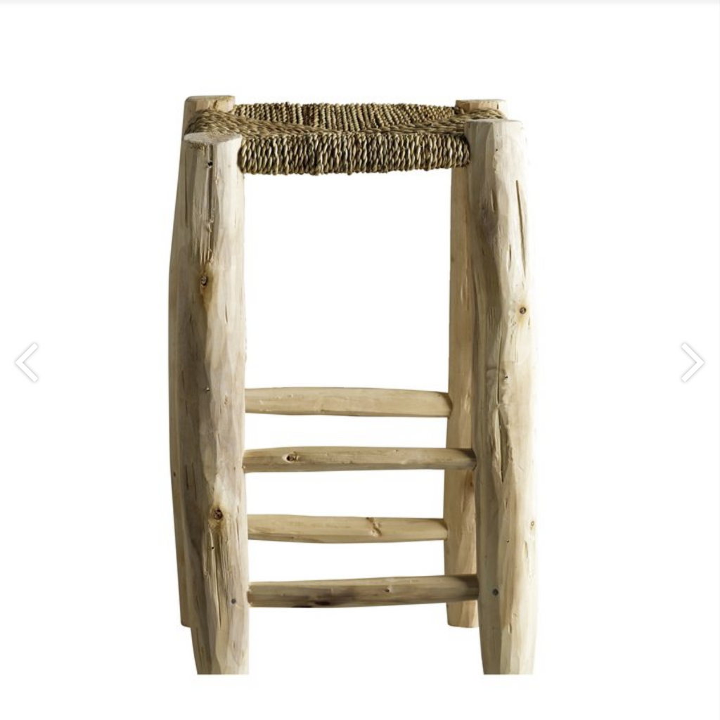 high square stool from braided palm leaf