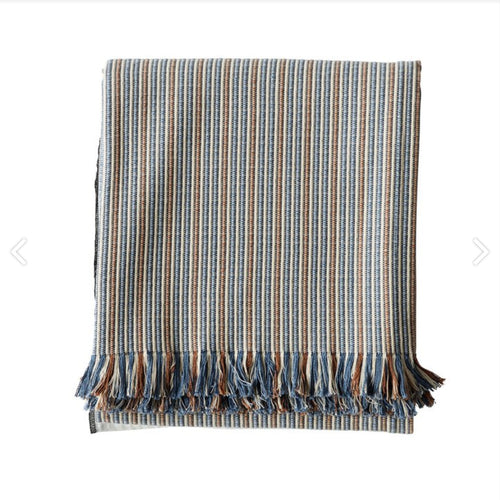 cotton throw with blue and brown stripes by designer tine k