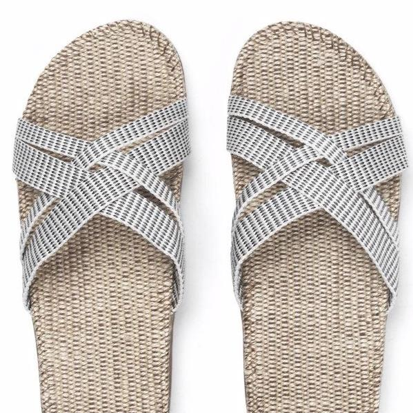 white sandals with grey stripes