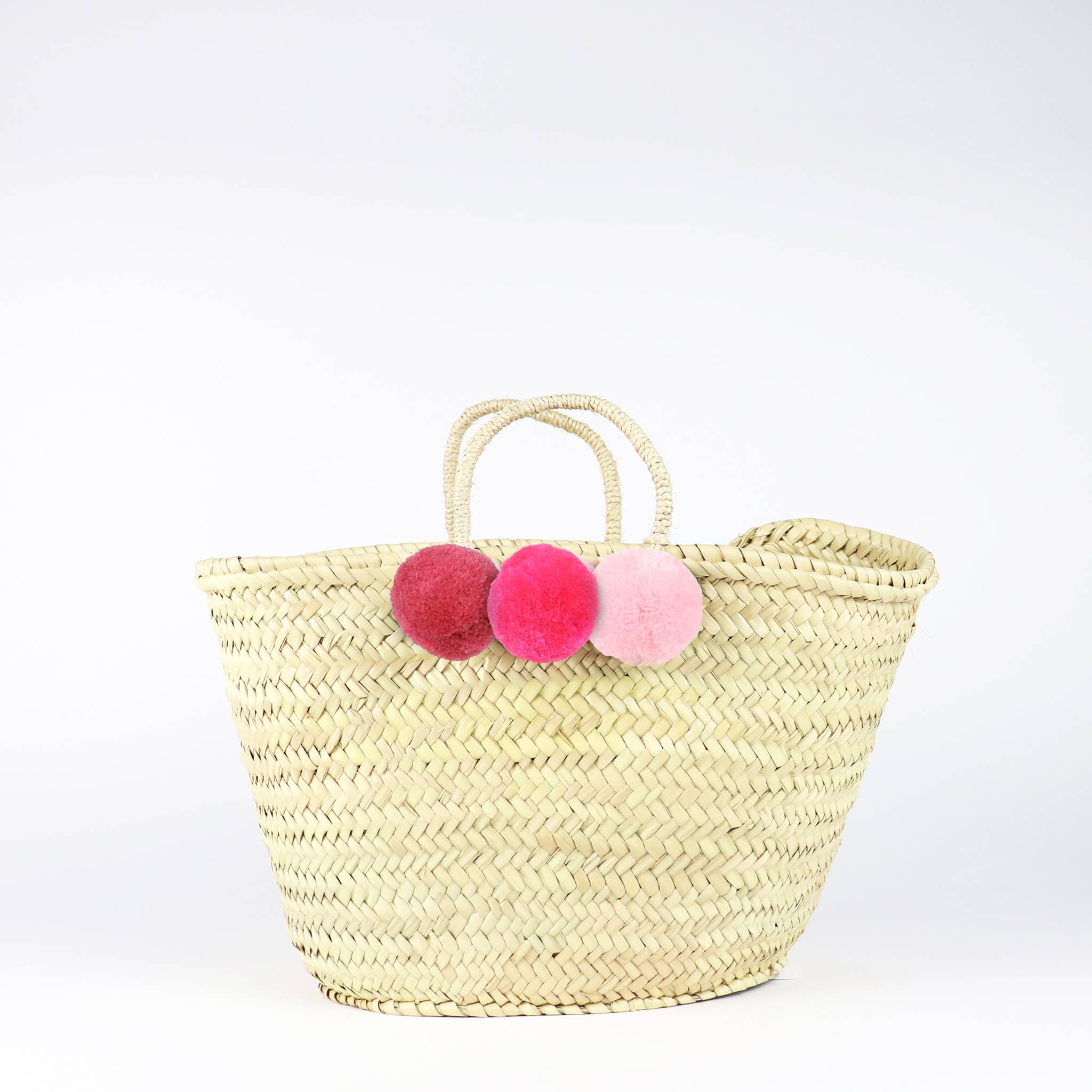 Wheat MIXED POM POM Straw Basket Bag - MEDIUM