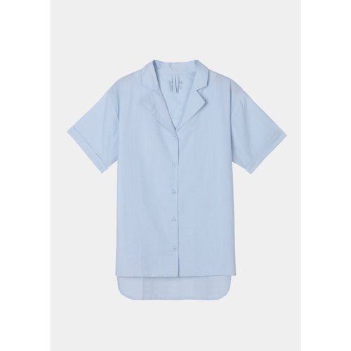 blue short sleeve button up shirt by designer aiayu
