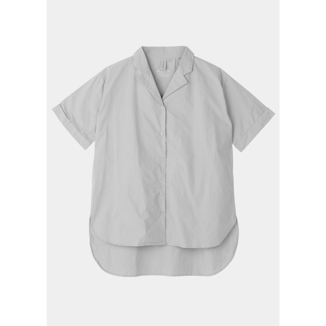 grey short sleeve button up shirt by designer aiayu