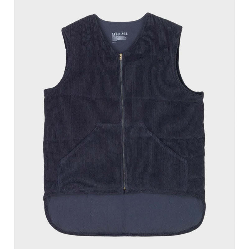 navy corduroy vest with zipper detail and front pockets by designer aiayu