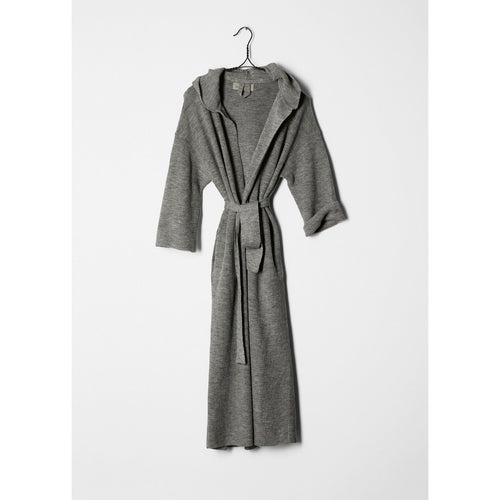 grey knitted bathrobe hanging from a hanger