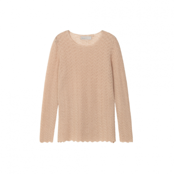 light pink lace-knit lightweight sweater with wavy hems and slits at the cuff by designer aiayu