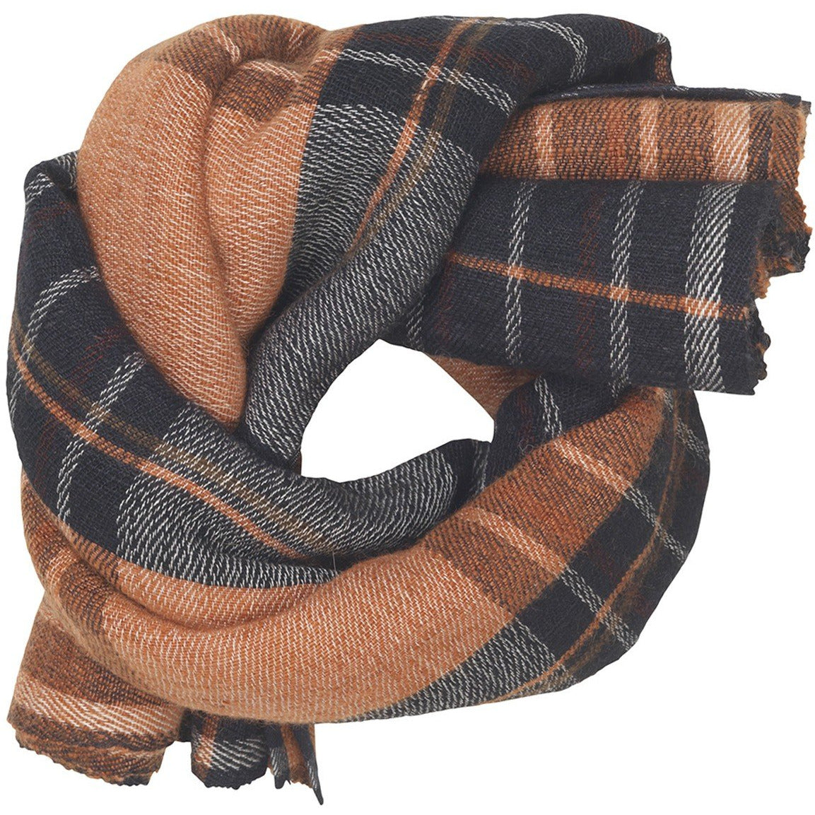 cashmere scarf in rust, orange, and black plaid pattern by designer aiayu