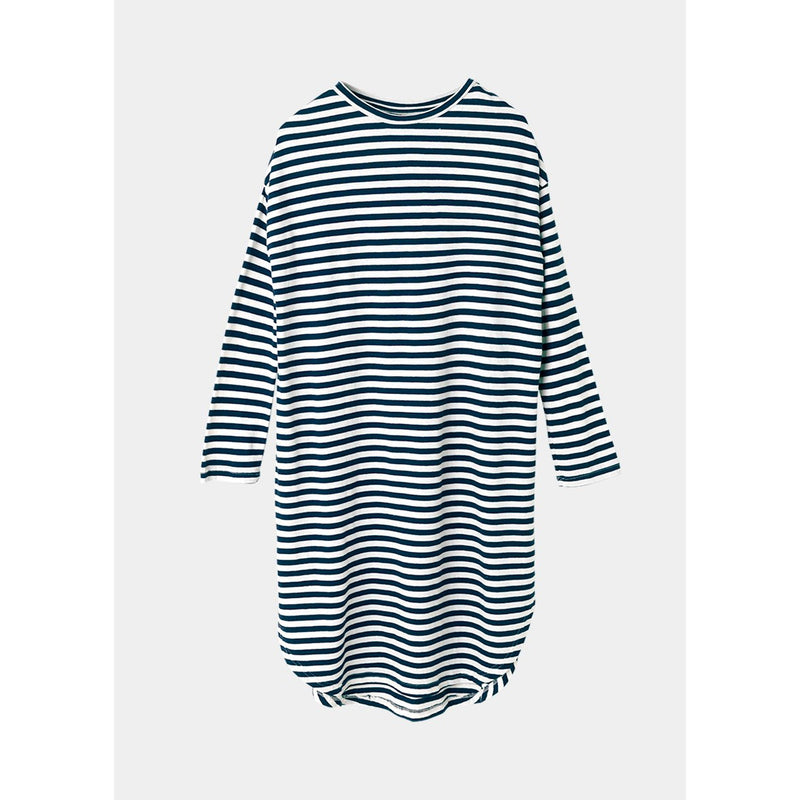 black and white horizontal striped 3/4 sleeve dress by designer aiayu