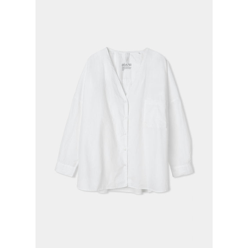white button up shirt with a deeper v neck by designer aiayu