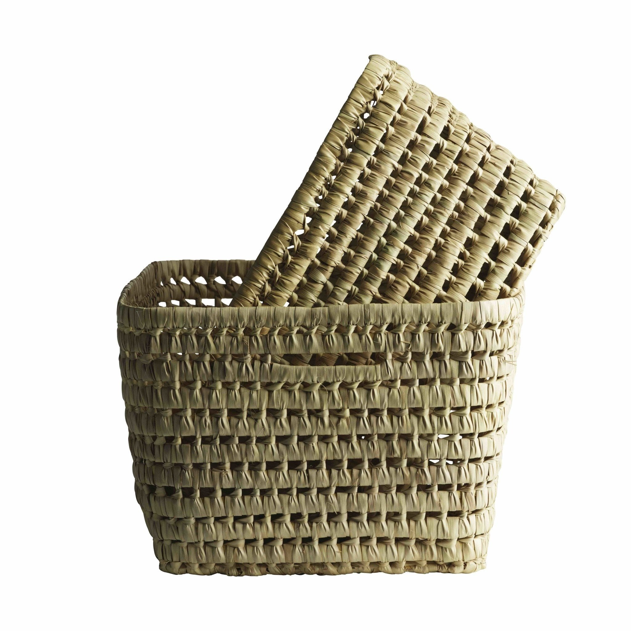 two woven rectangular baskets stacked inside one another