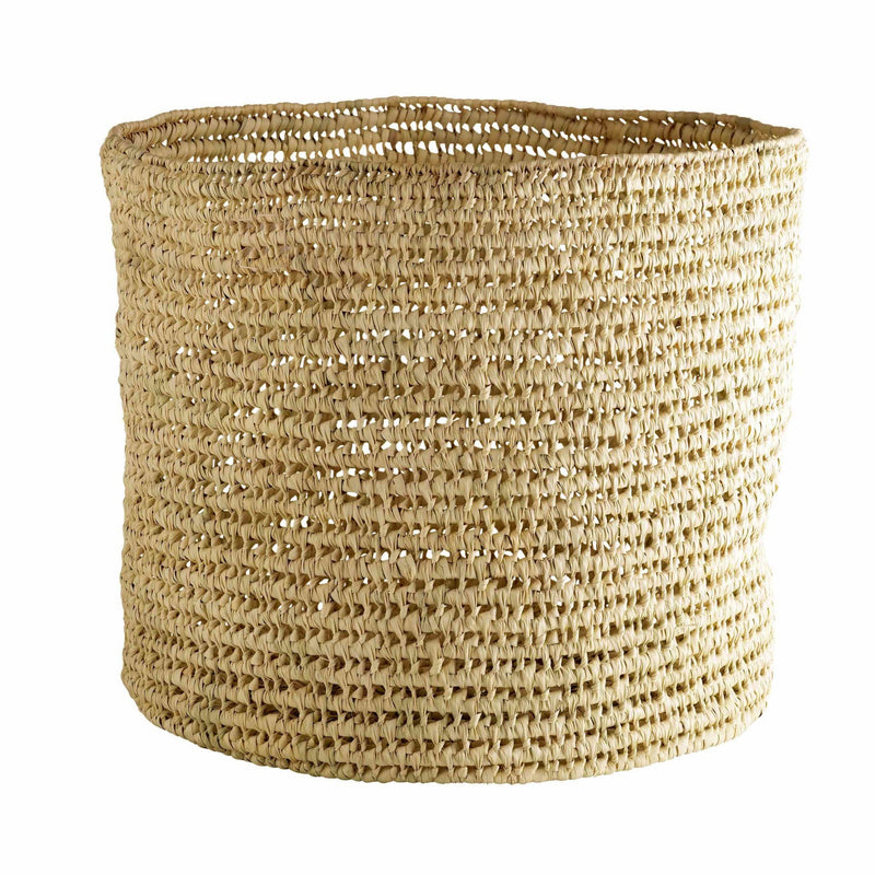 tall cylindrical woven palm leaf basket