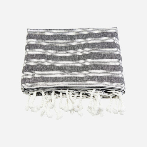 large black with white stripes, cotton towel by house doctor