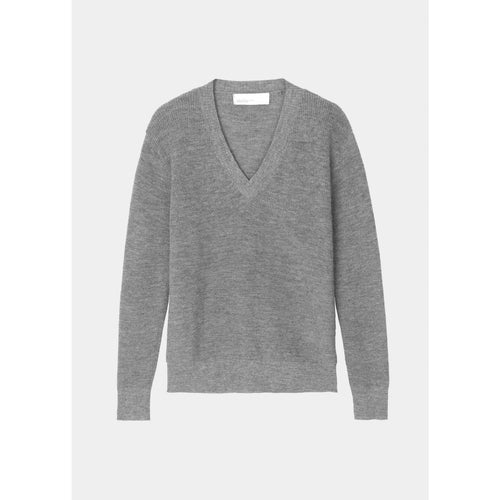 grey long sleeved v-neck sweater by designer aiayu