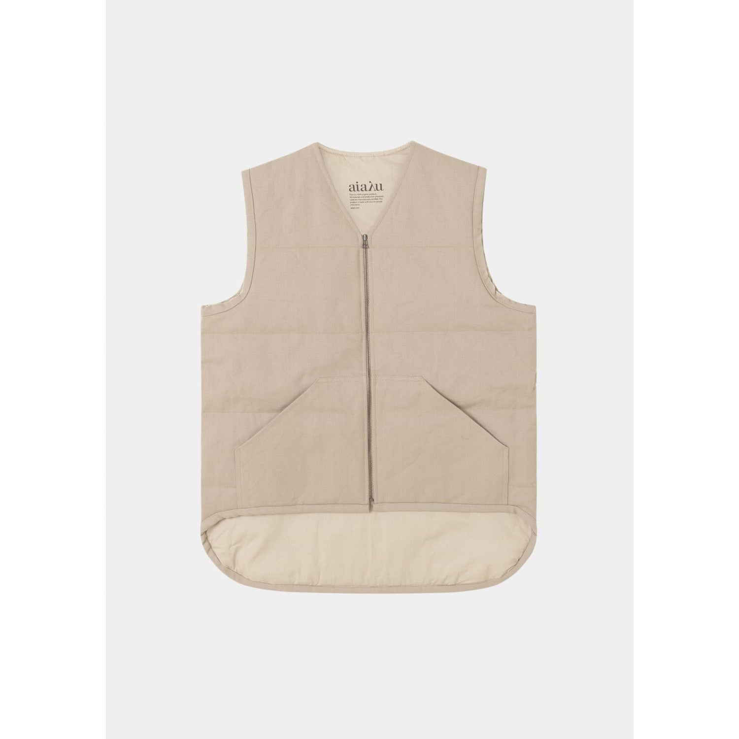 beige zip up vest by designer aiayu