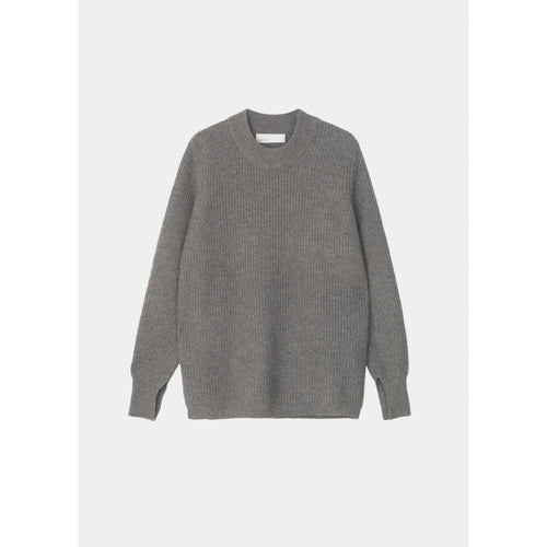 light grey long sleeve sweater with ribbed hems and cinched sleeves by designer aiayu