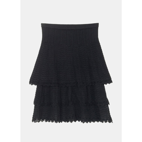 three tiered black lace skirt by designer aiayu
