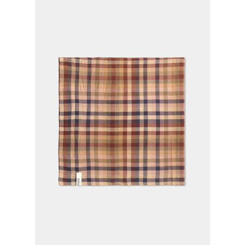 tan black and red burberry plaid scarf, folded into a square, by designer aiayu