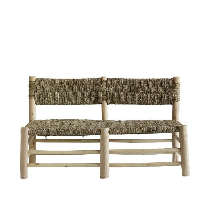 braided palm leaf sofa with bamboo feet