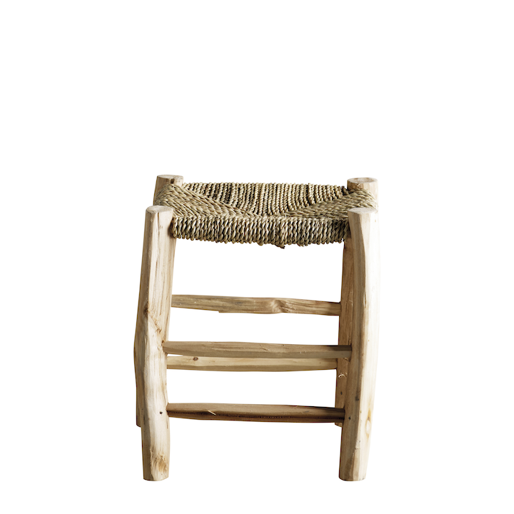 square braided palm leaf stool