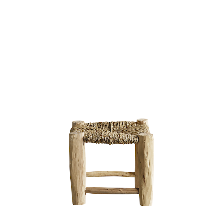 mini braided palm leaf stool