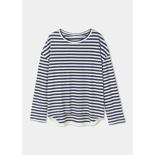 dropped shoulder long sleeve tee in navy and white stripes