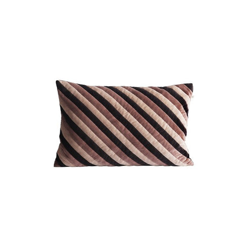 rectangular velvet pillow with diagonal stripes in black, blush, and light pink by designer tine k