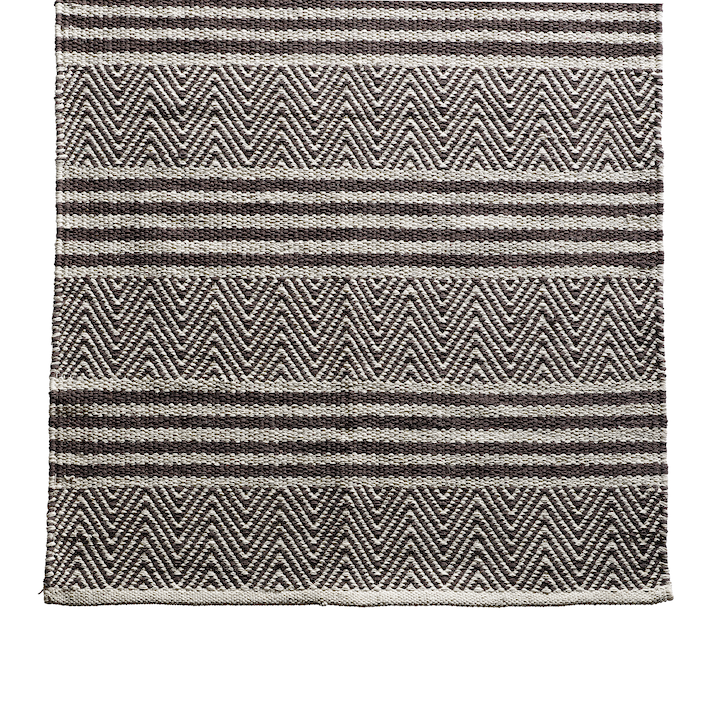 brown and white patterned rug