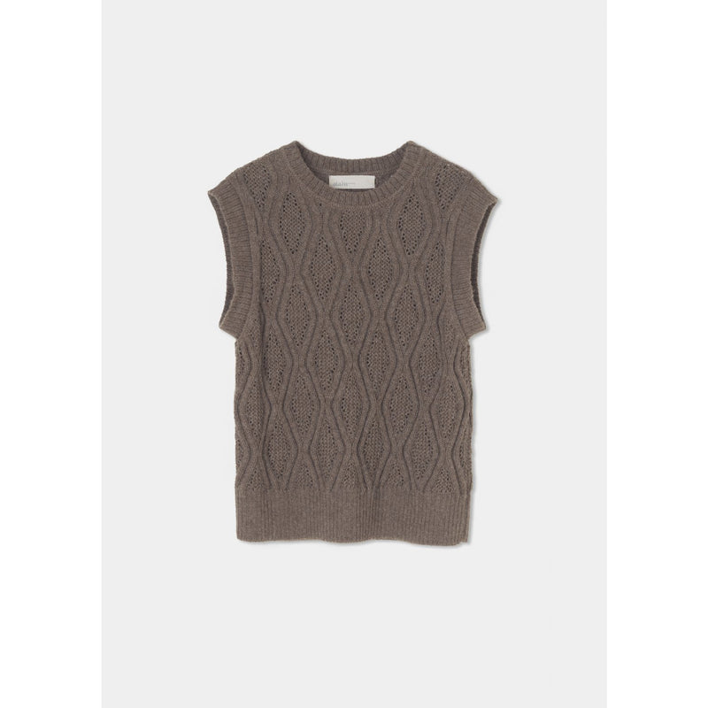 brown detail-knitted vest with rounded hemlines by designer aiayu