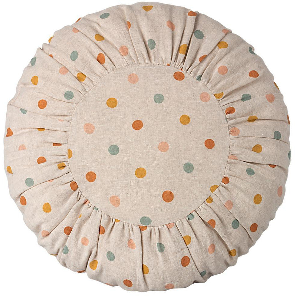 Gray Cushion, Round Multi-Dots
