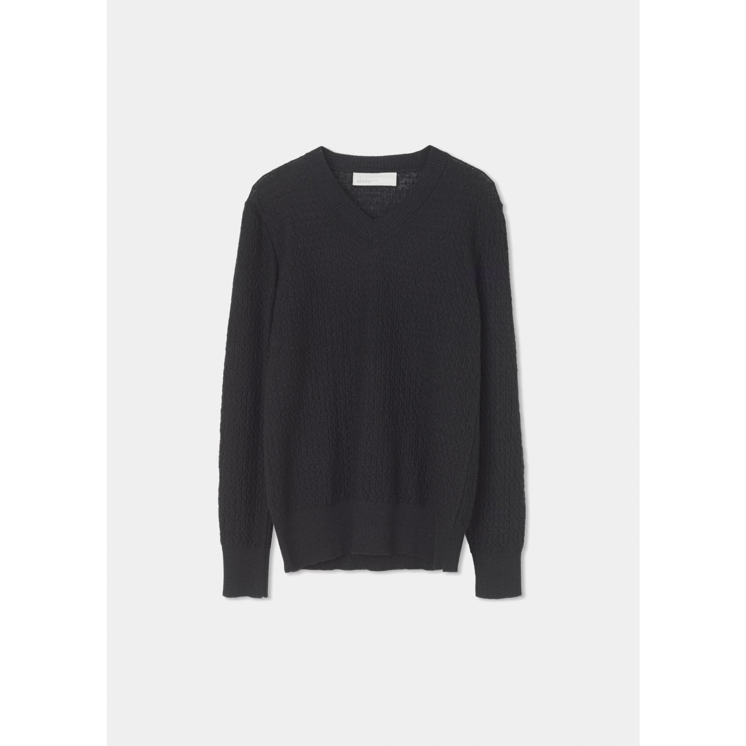 black v-neck ribbed knit sweater by designer aiayu