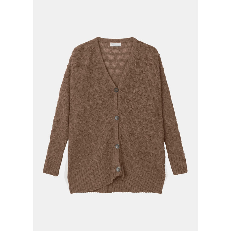 brown colored rib-bordered knit cardigan with large horn buttons by designer aiayu