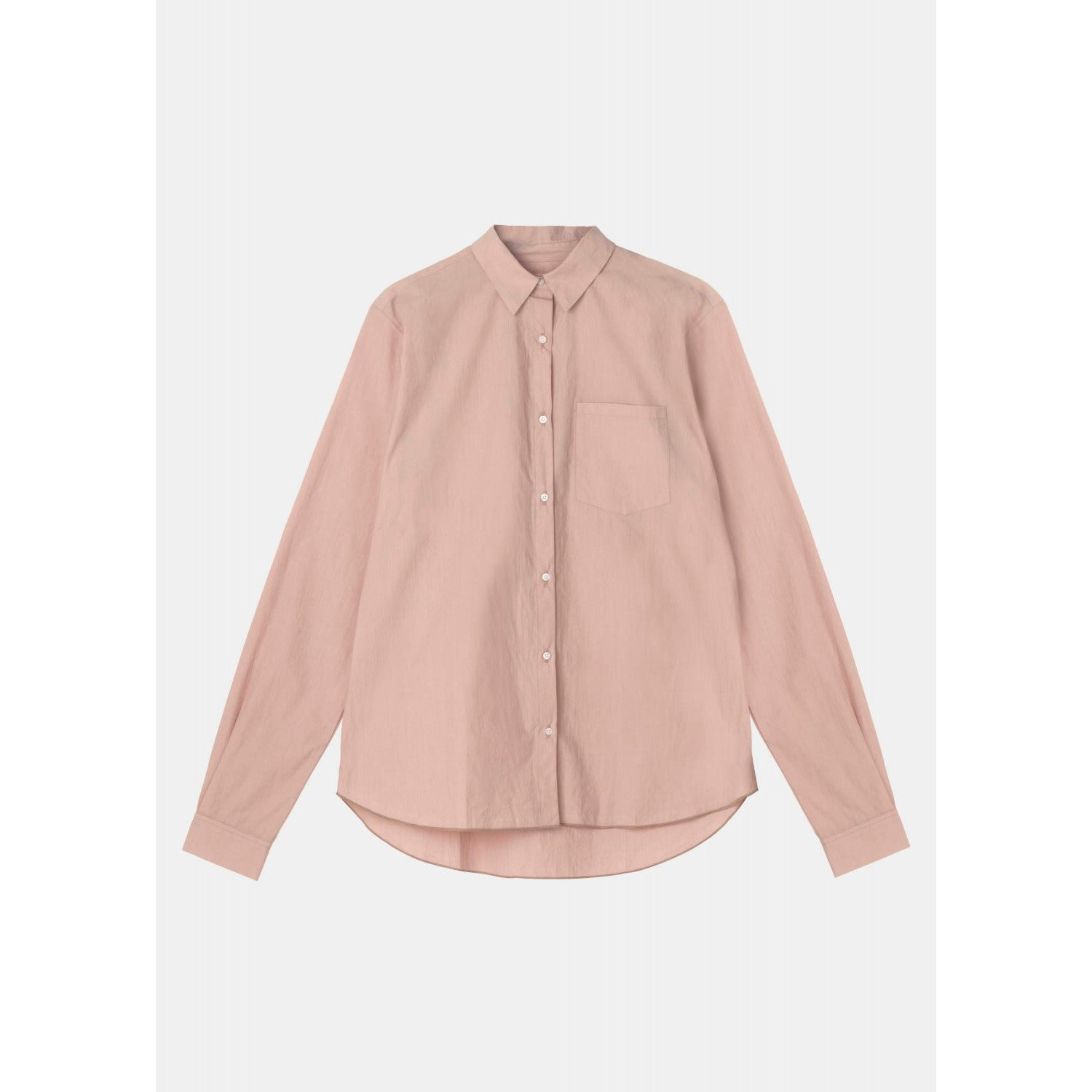 pink colored organic cotton long sleeve button down by designer aiayu