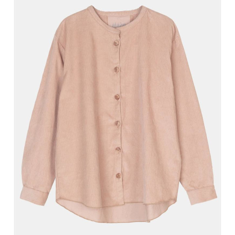 pink long sleeve corduroy button up shirt by designer aiayu