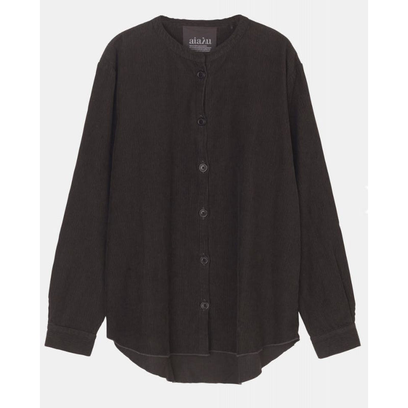 light black long sleeve corduroy button up shirt by designer aiayu