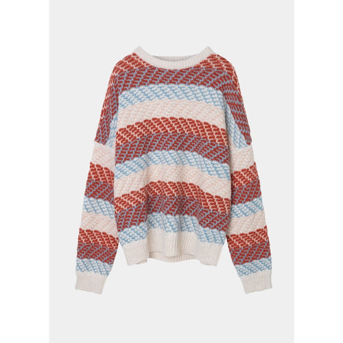 red white and blue knit sweater in striped pattern by designer aiayu