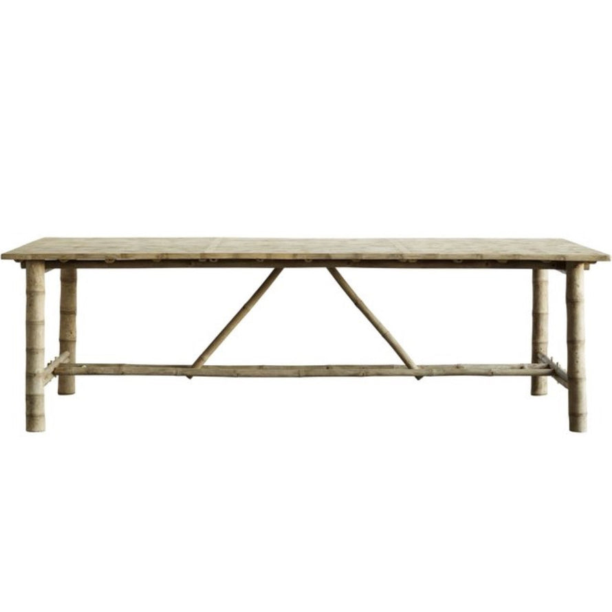 rectangular bamboo table