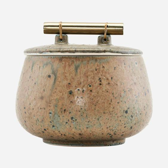 short green storage pot with bamboo handle