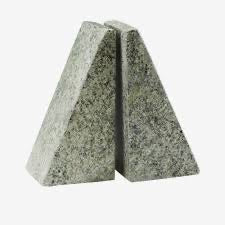 stone triangular bookends in a green-gray color
