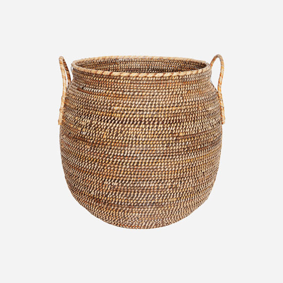 rounded basket made from rattan with two handles