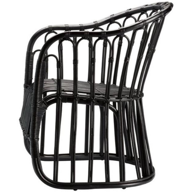 black painted rattan dining chair with arms