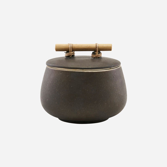 short brown storage pot with bamboo handle