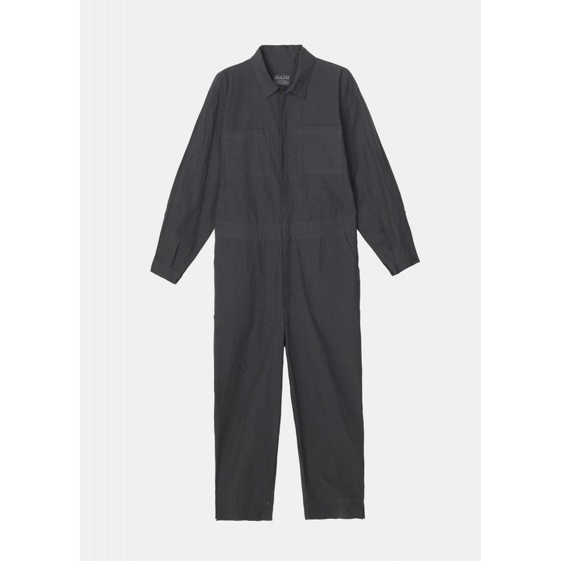 dark grey button up jumpsuit be designer aiayu