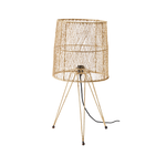 Large woven raffia table lamp by designer tine k