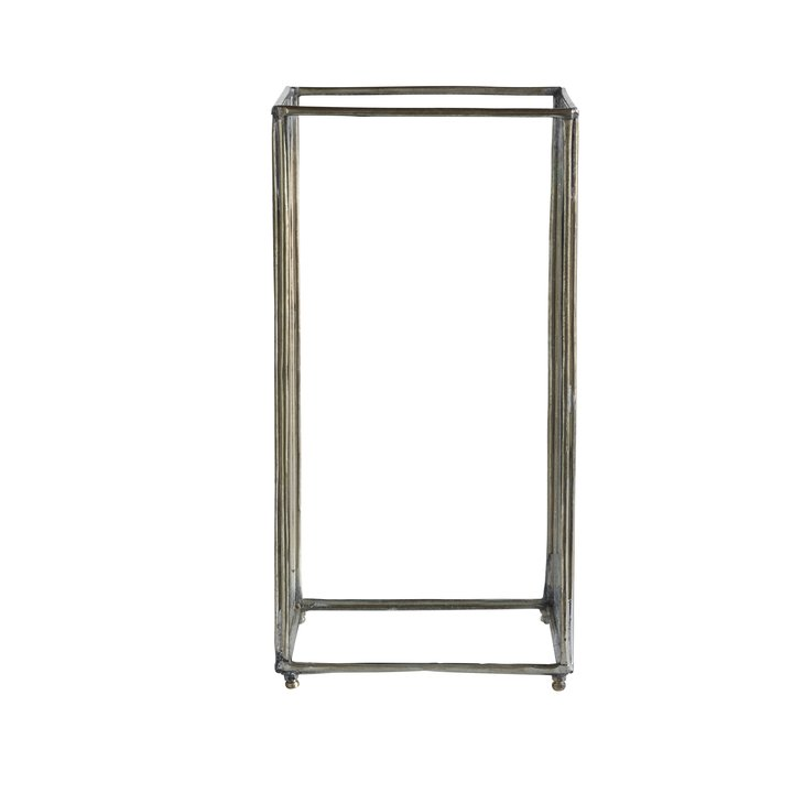tall silver glass square lantern by designer tine k
