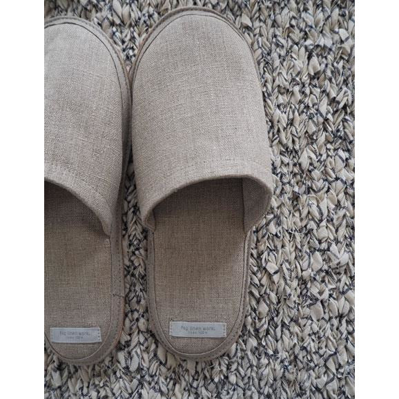 Dim Gray Linen Slippers - Natural