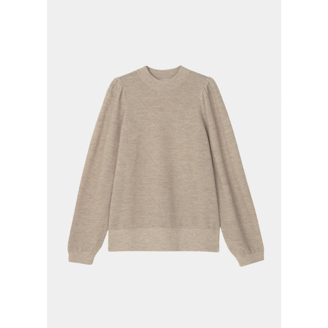 light beige sweater with puffy sleeves, ribbed hemlines, and diagonal line details by designer aiayu