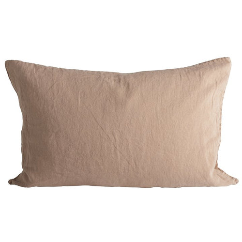 rectangular linen pillow in camel color by designer tine k