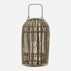 domed rattan lantern with glass insert and metal handle by house doctor