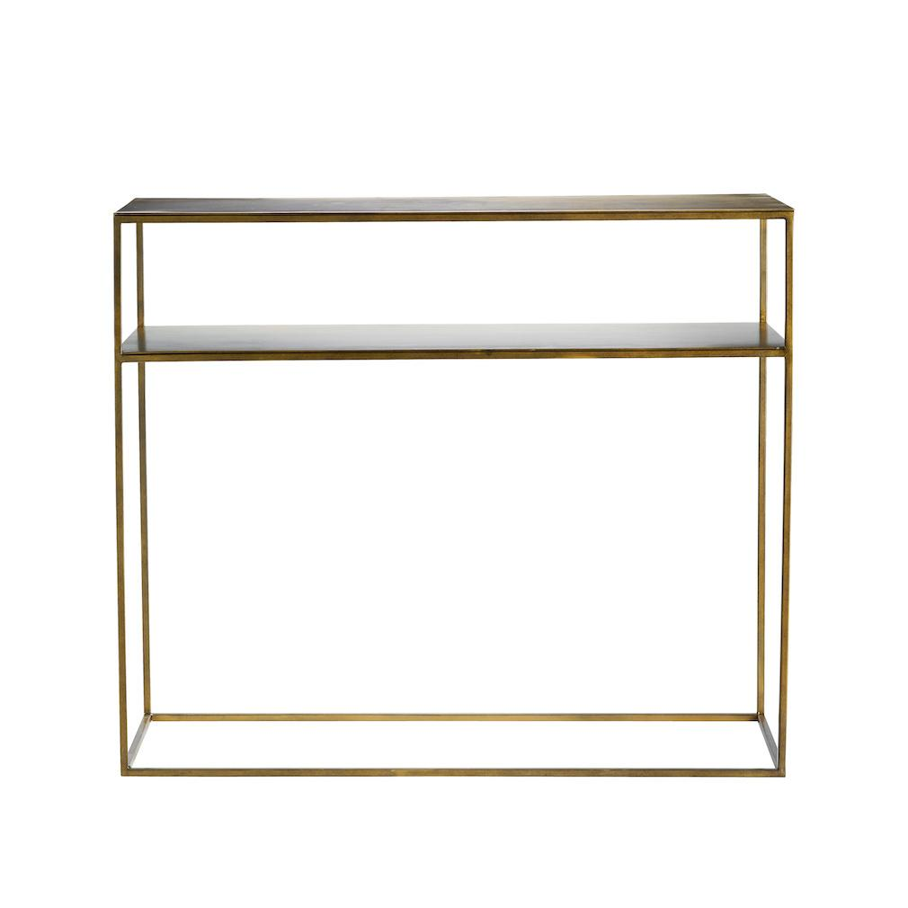 gold metal table with two shelves